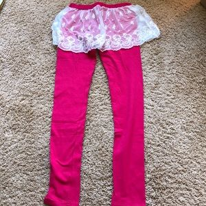 Pants - hot pink leggings with lace skirt